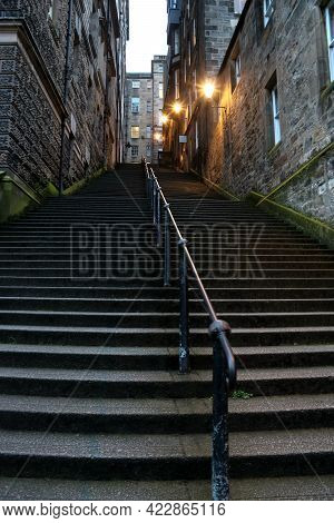 Street Staircase In Edinburgh Old Town At Dusk