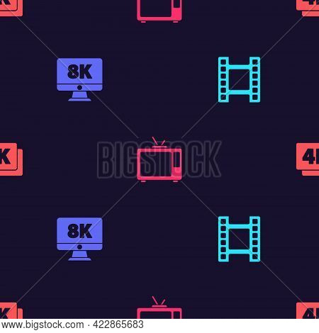 Set Play Video, Monitor With 8k, Retro Tv And 4k Ultra Hd On Seamless Pattern. Vector