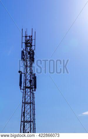 Cell Phone Antenna Towers.telecommunications Antenna Mast.development Of A Communication System. Wit