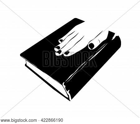 Oath On The Bible Vector Stock Illustration. Presidential Inauguration. Banner For Elections. The Oa