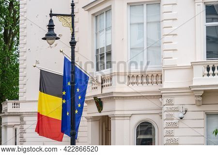 Flag Of The European Union And Belgian Flags Over The Belgian Embassy In London. Uk, London, May 29,