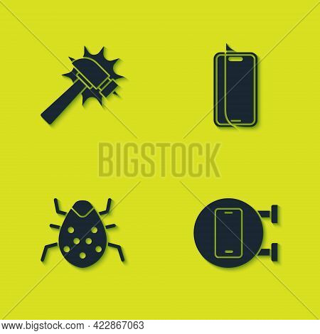 Set Hammer, Phone Repair Service, System Bug And Glass Screen Protector Icon. Vector