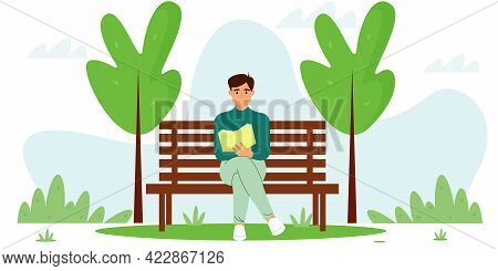 Young Guy Sits On A Bench And Reads A Book. Vector Illustration