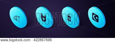 Set Isometric Star And Crescent, Bottle Of Water, Pig And Oil Pump Or Pump Jack Icon. Vector