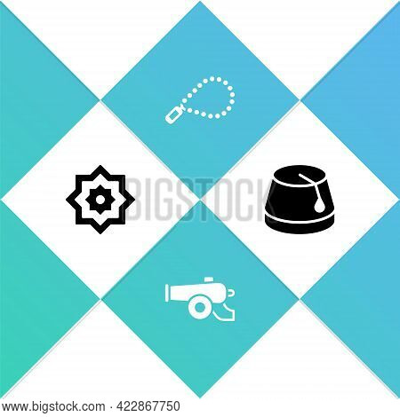 Set Octagonal Star, Ramadan Cannon, Rosary Beads Religion And Turkish Hat Icon. Vector
