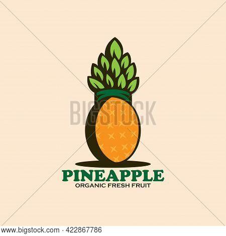 Pineapple Fruit Design Logo Vector. Illustration Pineapple Fruit Vector