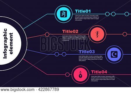 Set Speaker Mute, Arabian Saber, Star And Crescent And Lute. Business Infographic Template. Vector