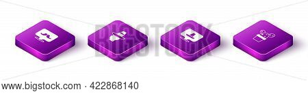 Set Isometric Mustache, Mexican Man Sombrero, And Cactus Or Succulent In Pot Icon. Vector