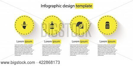 Set Mexican Man Sombrero, Tequila Bottle, Lime And Salt. Business Infographic Template. Vector