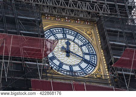 Big Bens Refurbishment. The Structure Was Covered In Scaffolding.uk, London, May 29, 2021