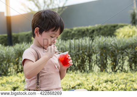 Cute Little Child Eating Sweets Or Snack During Sitting At Park Handsome Little Young Boy Enjoy Eati