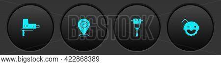 Set Electric Jigsaw, Circular Blade, Construction Jackhammer And Circular Icon. Vector