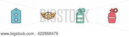 Set Military Rank, Star American Military, Hand Smoke Grenade And Icon. Vector
