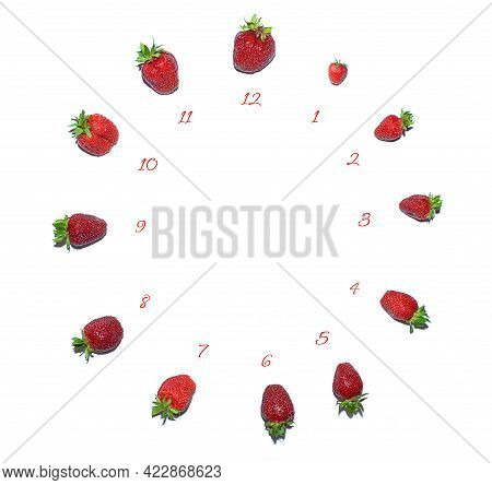Proper Nutrition, The Concept Of A Diet. Vegetarianism. Berries Laid Out On A White Background In Th