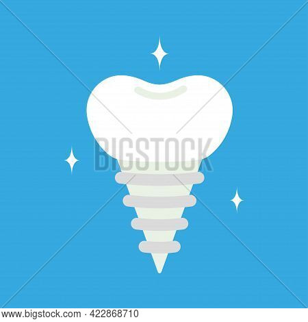 Tooth Pin, White Dentist Element, Dental Care And Implant, Vector Illustration Of Cartoon Tooth Pin