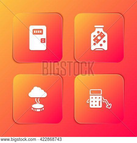 Set Prison Cell Door, Glass Money Jar With Coin, Storm And Calculation Of Expenses Icon. Vector