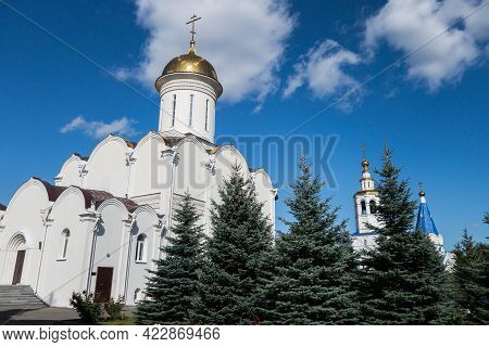 Building Of Trinity Cathedral In Zilantov Female Monastery, Kazan, Russia. Cathedral Built In Tradit