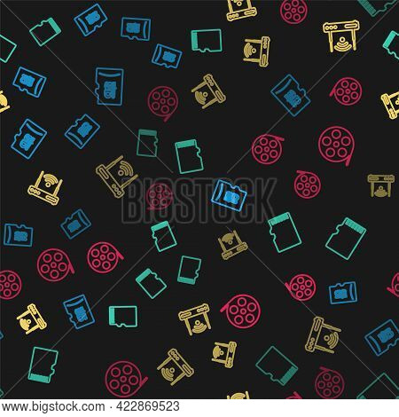 Set Line Micro Sd Memory Card, , Router And Wi-fi And Film Reel On Seamless Pattern. Vector