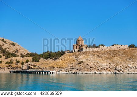 Cathedral Of The Holy Cross & Wharf For Tourist Boats, Akdamar Island On Van Lake, Gevaş, Turkey. It