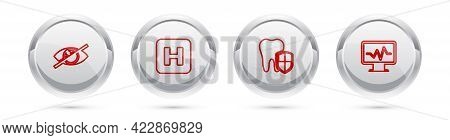 Set Line Invisible Or Hide, Hospital, Dental Protection And Monitor With Cardiogram. Silver Circle B