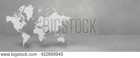 World Map Isolated On Concrete Wall Background. 3d Illustration. Horizontal Banner
