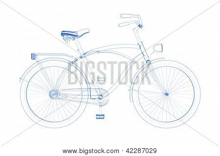 Bicycle (3D xray blue transparent on white)