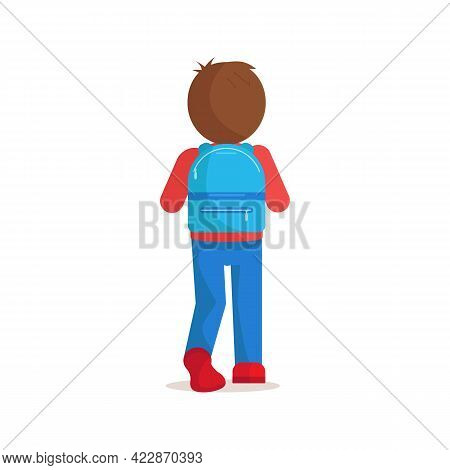 Boy, Teenager, Student With School Backpack Stands With His Back Turned. Schoolboy Going To School W