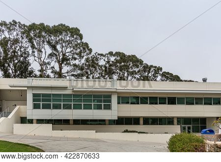 Santa Barbara, Ca, Usa - June 2, 2021: City College Facilities. White Humanities Building With Name
