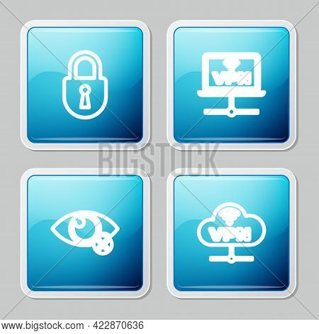 Set Line Lock, Vpn Computer Network, Invisible Hide And Network Cloud Connection Icon. Vector