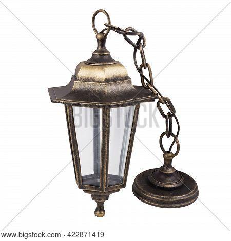Hanging Garden Lantern In Bronze Color Isolated On White Background. Outdoor Garden Lantern.