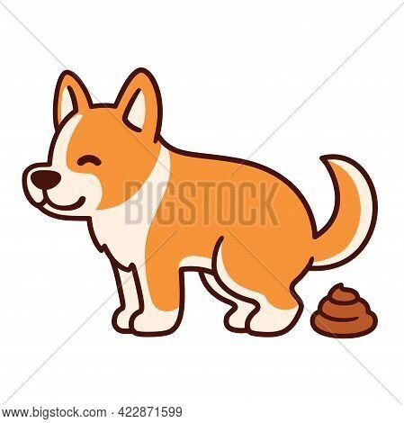 Cartoon Corgi Pooping Illustration. Funny Vector Clip Art Drawing Of Defecating Dog.
