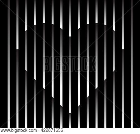 Abstract Unusual Heart Sign Logo On Geometric Black And White Gradient Stripes Background. Luxury St