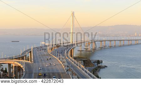Sunset Over The San Francisco-oakland Bay Bridge Eastern Span. Treasure Island, San Francisco, Calif