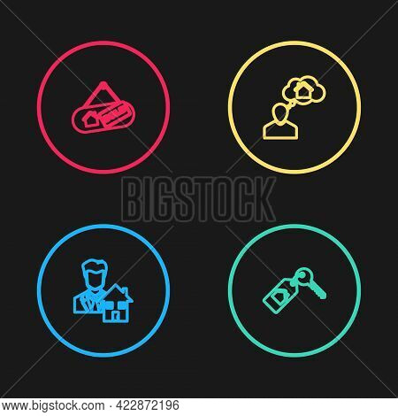 Set Line Realtor, House With Key, Man Dreaming About Buying House And Hanging Sign Sold Icon. Vector