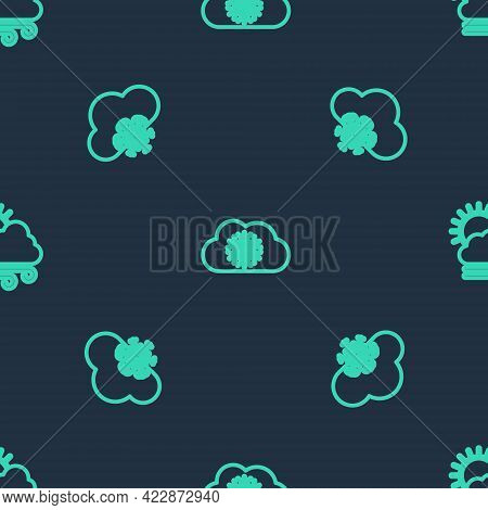 Set Line Cloud With Snow, And Windy Weather On Seamless Pattern. Vector