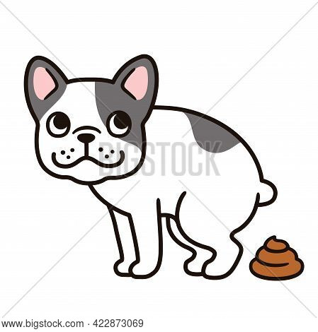 Cartoon French Bulldog Pooping Illustration. Funny Vector Clip Art Drawing Of Defecating Frenchie Do
