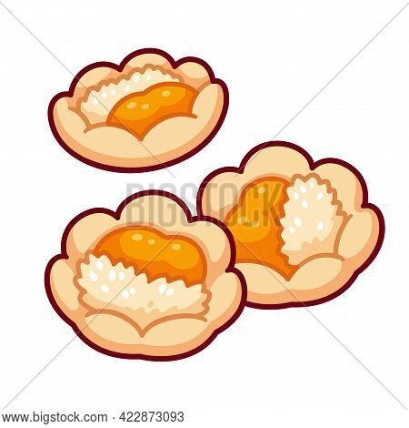 Hertzoggie, Traditional South African Cookie With Jam And Coconut Filling. Cartoon Drawing, Vector C
