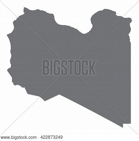 The Libya Silhouette Map Isolated On White Background