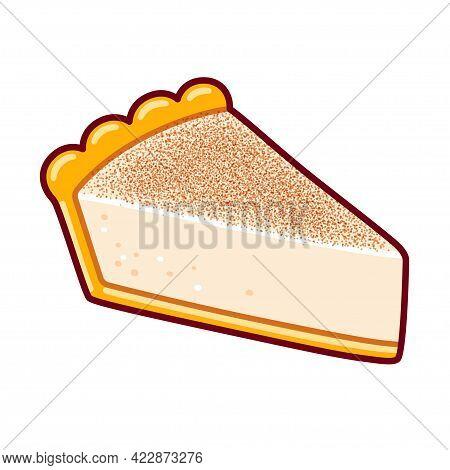 Melktert, Traditional South African Milk Tart. Custard Dessert In Sweet Pastry Crust. Cartoon Drawin