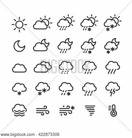 Weather Forecast Icons Set. Clouds, Precipitation And Weather Conditions, Day And Night. Vector Line