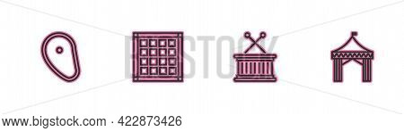 Set Line Steak Meat, Musical Drum And Sticks, Checkered Napkin And Camping Tent Icon. Vector
