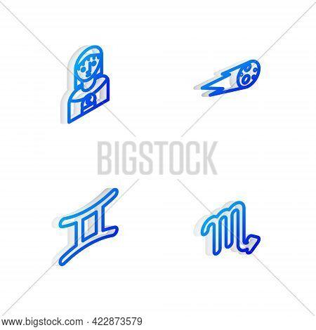 Set Isometric Line Comet Falling Down Fast, Astrology Woman, Gemini Zodiac And Scorpio Icon. Vector
