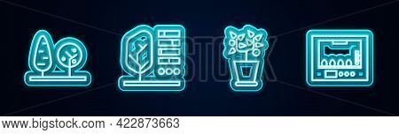 Set Line Trees, Plant Status, In Pot And Incubator For Eggs. Glowing Neon Icon. Vector