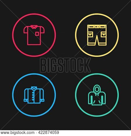 Set Line T-shirt, Hoodie, Short Or Pants And Polo Icon. Vector