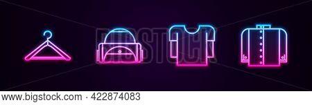 Set Line Hanger Wardrobe, Sport Bag, Long Sleeve Shirt And T-shirt. Glowing Neon Icon. Vector