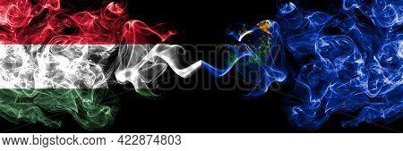 Hungary, Hungarian Vs United States Of America, America, Us, Usa, American, Nevada Smoky Flags Side