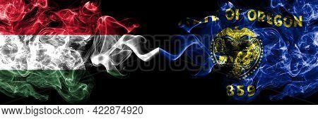 Hungary, Hungarian Vs United States Of America, America, Us, Usa, American, Oregon Smoky Flags Side