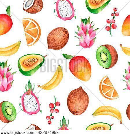 Watercolor Seamless Pattern With Tropical Berries, Mangoes, Bananas, Coconuts, Pitahaya, Orange, Kiw