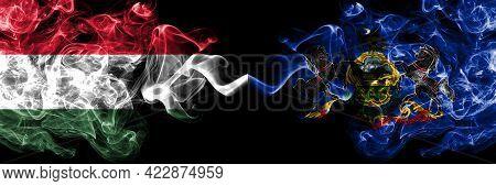 Hungary, Hungarian Vs United States Of America, America, Us, Usa, American, Pennsylvania Smoky Flags