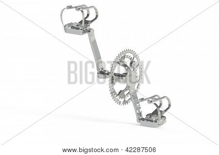 Chrome shiny bicycle pedals and Crankset assembly